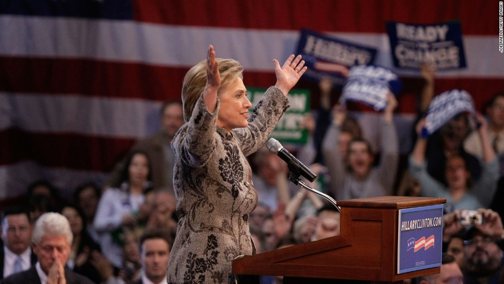 Clinton speaks during a post-primary rally on January 8, 2007, at Southern New Hampshire University in Manchester, New Hampshire.