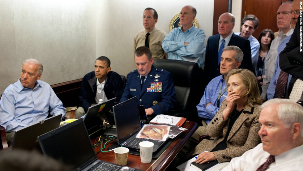 Obama, Vice President Joe Biden, Clinton and members of Obama's national security team receive an update on the Osama bin Laden mission May 1, 2011, in the Situation Room of the White House.
