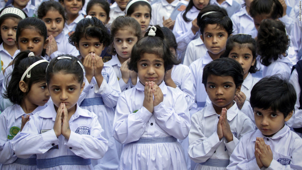 Students at the Sacred Heart Cathedral School in Lahore attend special prayers on Friday, October 19, 2012, for Malala's recovery.