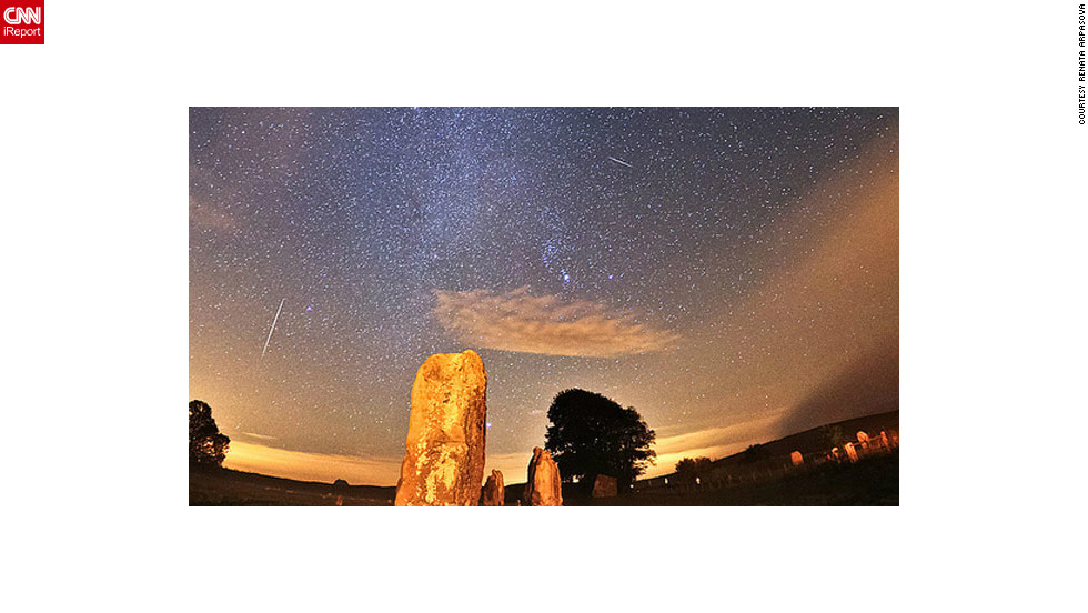 "<a href=""http://ireport.cnn.com/docs/DOC-861623"">Renata Arpasova </a>spent the early morning hours Sunday photographing the Orionid meteor shower from Wiltshire, England."