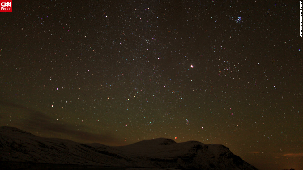 "<a href=""http://ireport.cnn.com/docs/DOC-861981"">Hans-Dieter Fleger</a> photographed the Orionid meteor shower from the foot of Mount Gaustatoppen in Stavsro, Norway, early Sunday morning."