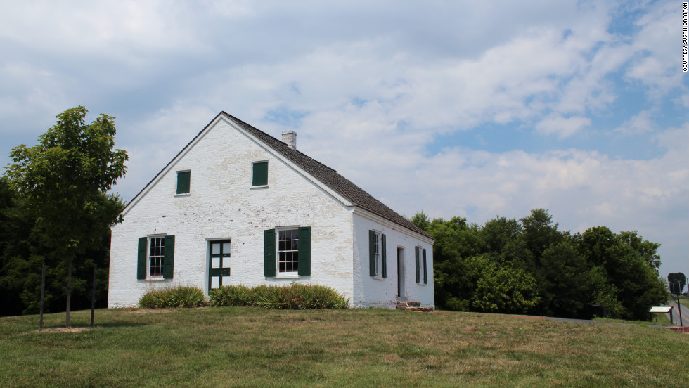 Eight miles off the trail, the National Park Service has reconstructed the meeting house of the German Baptists, known as Dunkers, on the Civil War battlefield of Antietam in Maryland.