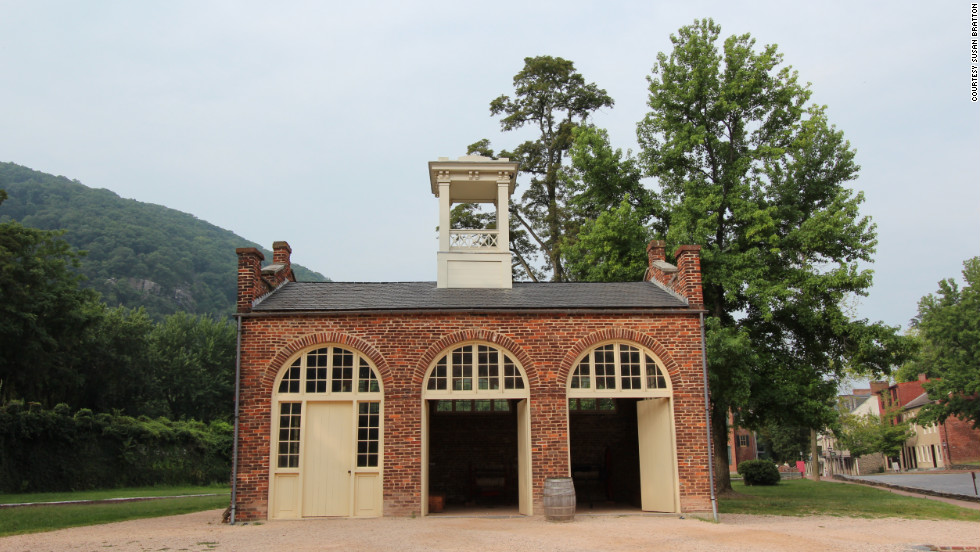 "The trail passes the site of John Brown's 1859 abolitionist raid on the federal armory, and the fire house which served as his ""fort,"" shown here. (Now West Virginia, it was part of Viriginia at the time of the raid.)"