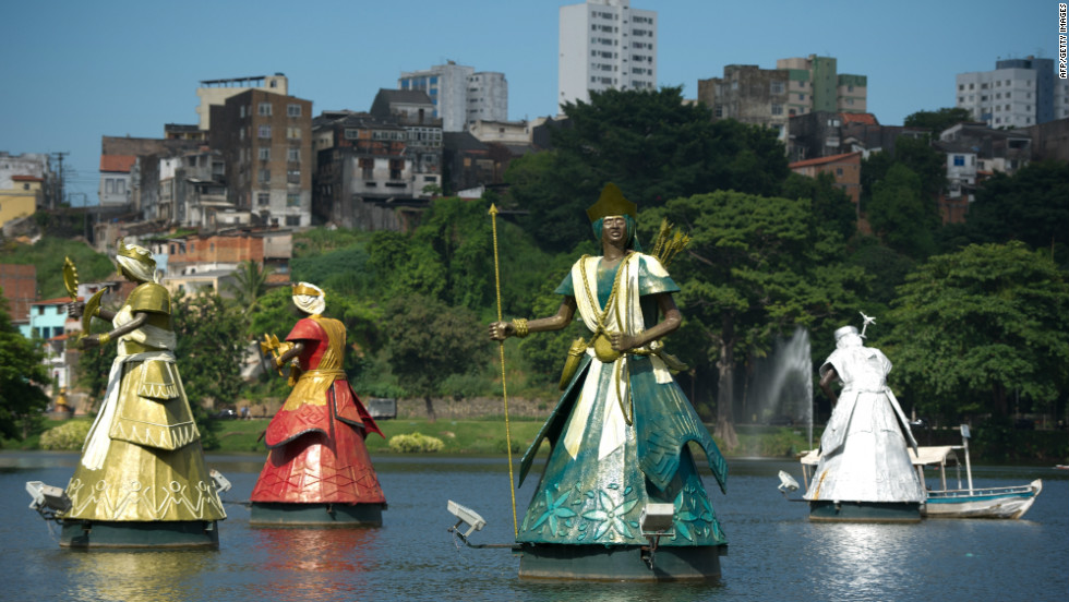 Orixas, deities of the Candomble religion,  have been built in Salvador, northeastern Brazil. Salvador, which has a large Afro-Brazilian population, has many followers of Candomble.