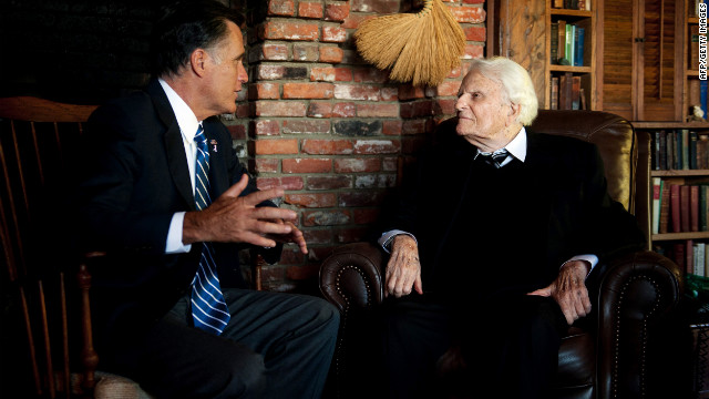 Mitt Romney speaks with the Rev. Billy Graham at the pastor's cabin in Montreat, North Carolina, on October 11.