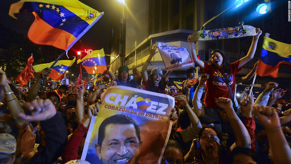 The two countries have had a contentious relationship for years, but in 2012 they have something in common -- a general election. Chavez recently won a third consecutive term as president of Venezuela. Here, supporters celebrate after receiving news of his victory in Caracas on October 7.