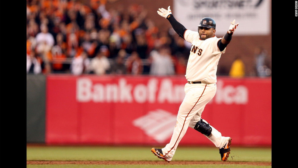No. 48 Pablo Sandoval of the Giants reacts after hitting a double in the third inning.