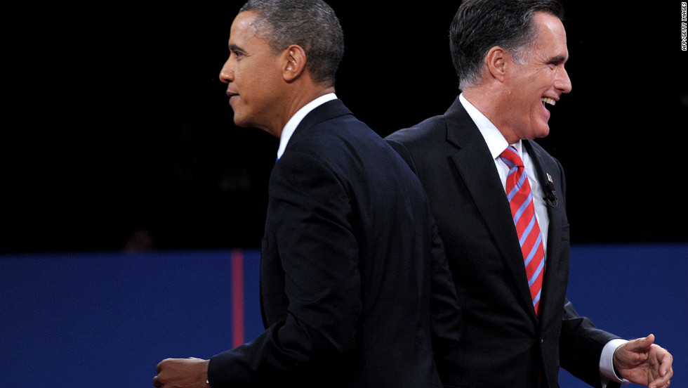 "President Barack Obama and Republican presidential candidate Mitt Romney depart the stage after the debate at Lynn University in Boca Raton, Florida, on Monday, October 22. The third and final presidential debate focused on foreign policy. <a href=""http://www.cnn.com/2012/10/16/politics/gallery/second-presidential-debate/index.html"">See the best photos from the second presidential debate.</a>"