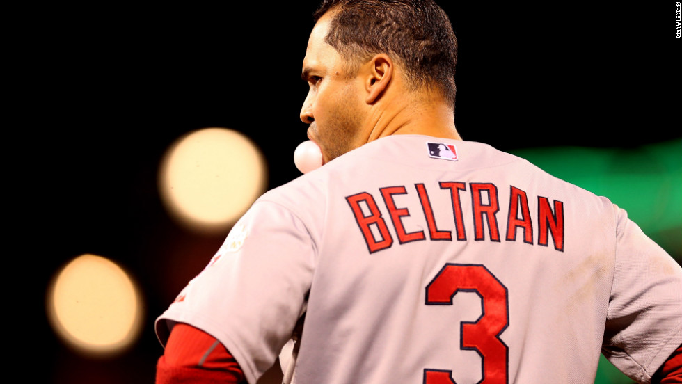 Carlos Beltran of the St. Louis Cardinals looks on in the seventh inning on Monday.