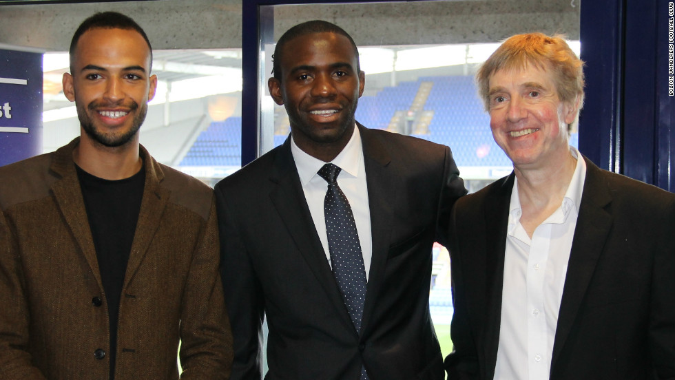 A play telling Tull's story is set for a run at Bolton's Octagon theatre, beginning on February 21. Nathan Ives-Moiba (left) will play Tull and he is pictured here with the Octagon's artistic director David Thacker (right). The pair are pictured alongside former footballer Fabrice Muamba, who suffered a cardiac arrest on the pitch while playing for Bolton Wanderers earlier this year.