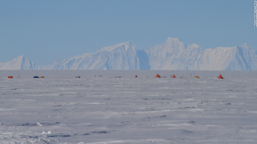 The drilling site above Lake Ellsworth, with the Ellsworth mountain range in the distance. The subglacial lakes are believed to maintain their liquid form due to pressure from the ice above, and heat from the Earth below.