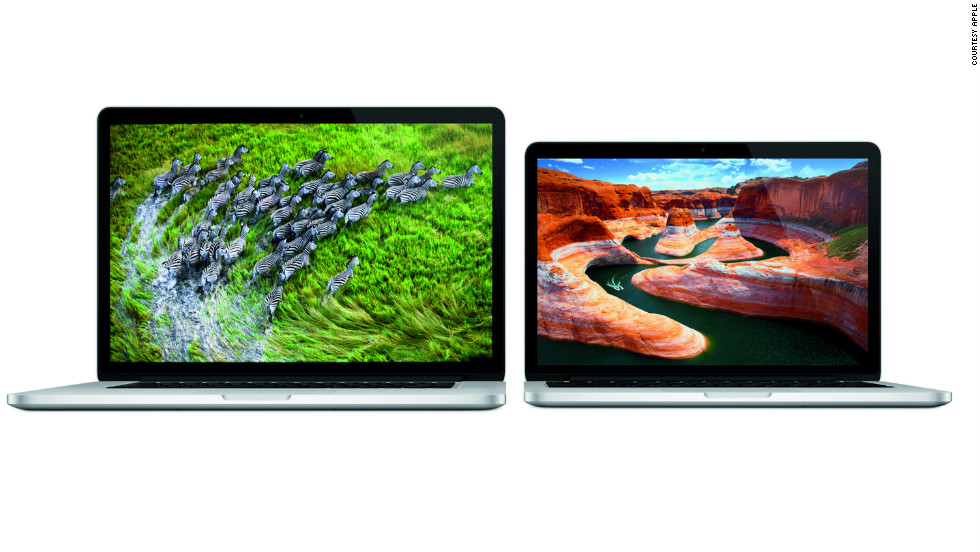 """The 13-inch Macbook Pro has been updated with a """"retina display"""" like the 15-inch version.  The new version is three-quarters of an inch thick, weighs 3.5 pounds and will start at $1,699."""