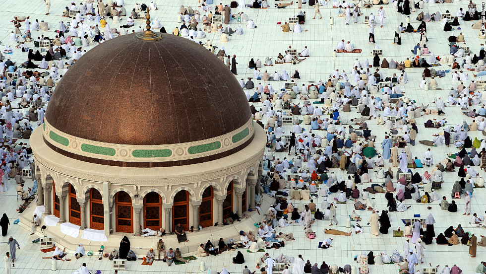 Muslim pilgrims wait for the start of prayers at the Grand Mosque in the holy city of Mecca on Monday.