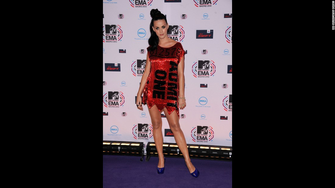 No stranger to making a statement at the MTV Europe Awards, Perry wears a shiny red ticket dress in November 2010 in Madrid.