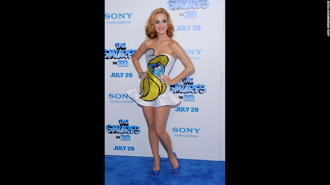 "The voice of Smurfette rocks this mini-dress on the blue carpet at the New York film premiere of ""The Smurfs"" in July 2011."