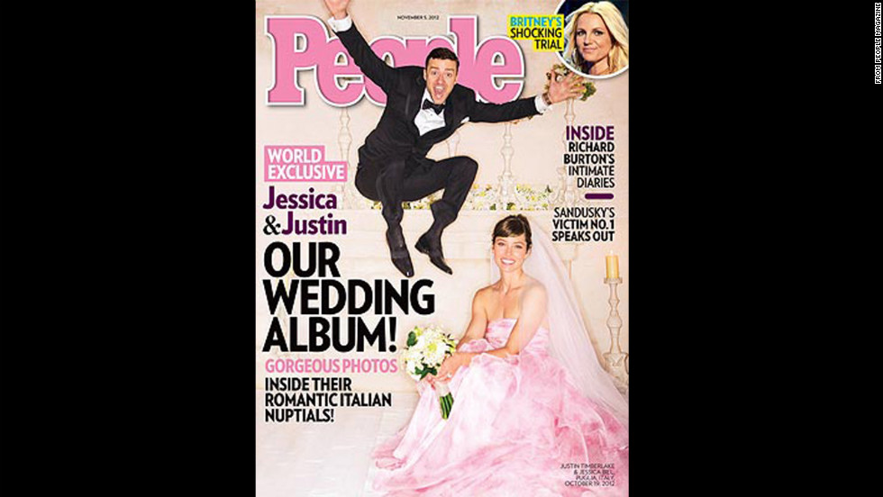Jessica Biel tied the knot with Justin Timberlake on October 19 wearing a custom pink Giambattista Valli Haute Couture gown.