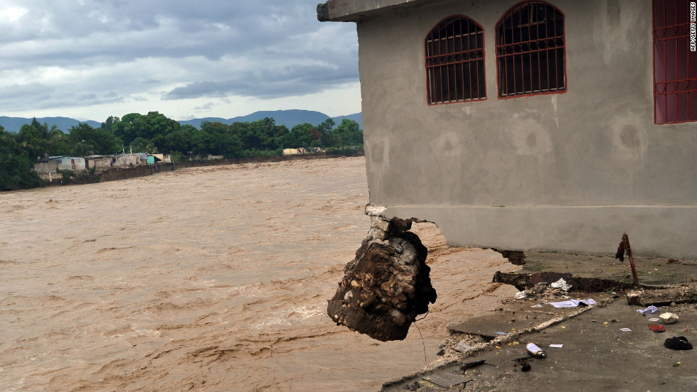 A house ruined by heavy flooding from Hurricane Sandy sits abandoned in Port-au-Prince, Haiti, on Thursday.