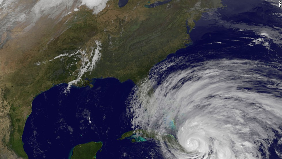A satellite view shows Hurricane Sandy's position on Wednesday.