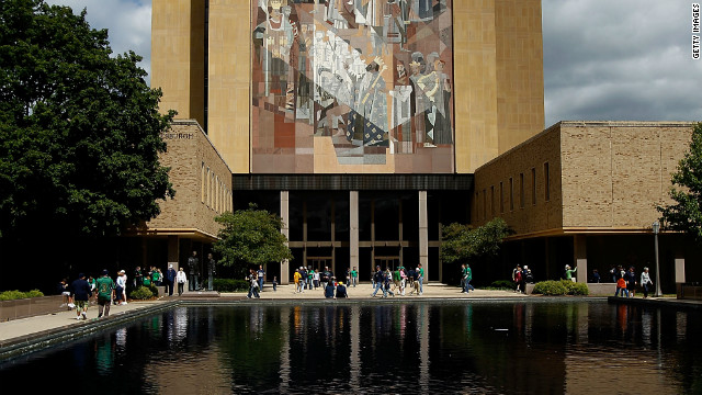"The ""Word of Life"" mural, also known as ""Touchdown Jesus"" on Notre Dame's campus."