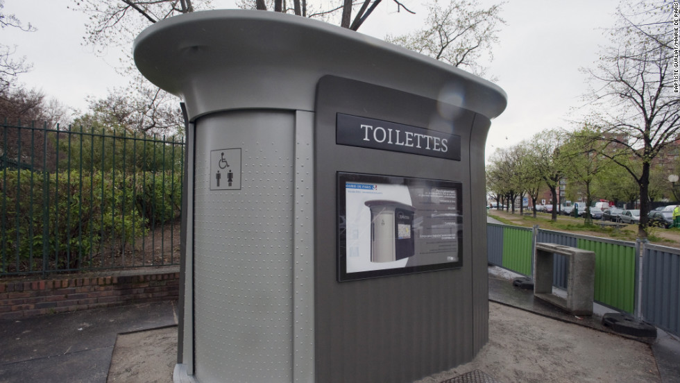 "Public restrooms are a serious matter to tourists. These space-age ""sanisettes"" are scattered around Paris and free to use."