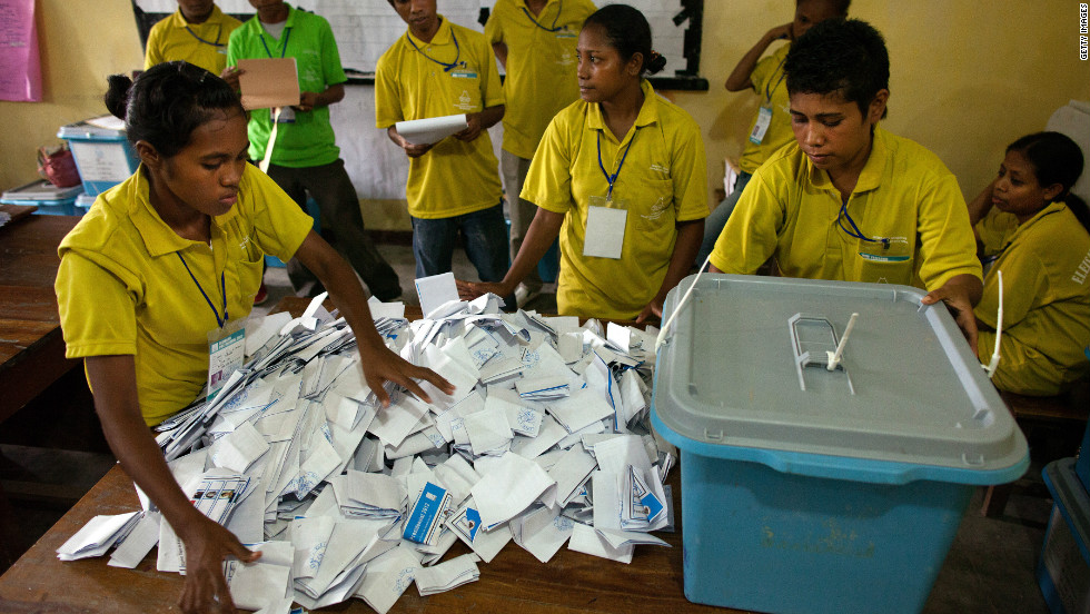 March: Timor-Leste held its third presidential election since gaining independence on March 17. Election workers count ballots in Dili, East Timor. The previous president and Nobel laureate Jose Ramos-Horta was beaten in his candidacy by Taur Matan Ruak.