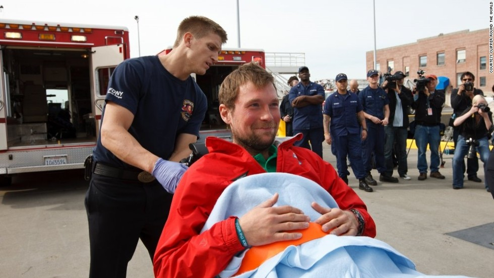 Sailor Nik Brbora was taken to hospital by U.S coast guards after his yacht, Geraldton Western Australia, was struck by a storm in the South Pacific.