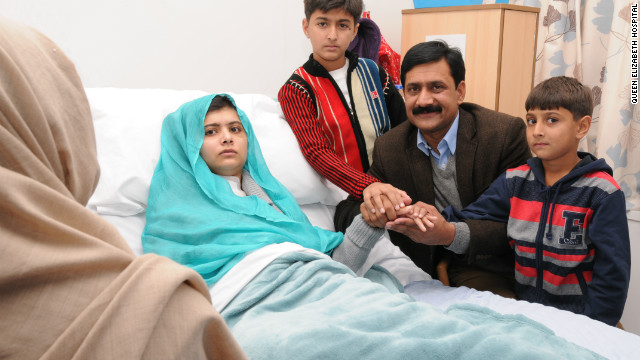 Malala and her parents reunite in UK