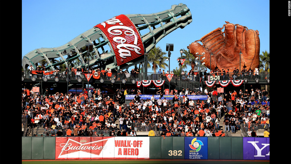 Fans fill the stadium in the outfield bleachers before the beginning of Game 2 between the San Francisco Giants and the Detroit Tigers.