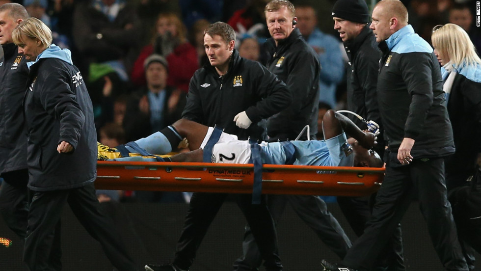 City defender Micah Richards was later also stretchered off after suffering an apparently serious knee injury.