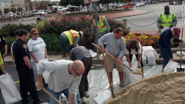Sandbagging started Saturday in Annapolis, Maryland, for possible storm surge.