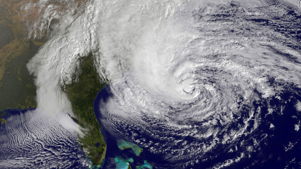 A satellite image from 10:10 a.m. ET on Sunday shows Hurricane Sandy in the Atlantic Ocean grazing the East Coast.