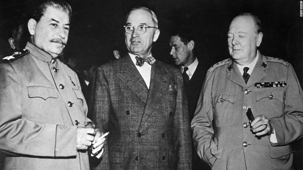 Harry S. Truman stands between Sir Winston Churchill, right, and Soviet leader Joseph Stalin at a meeting in Potsdam, Germany, in 1946 after World War II ended.