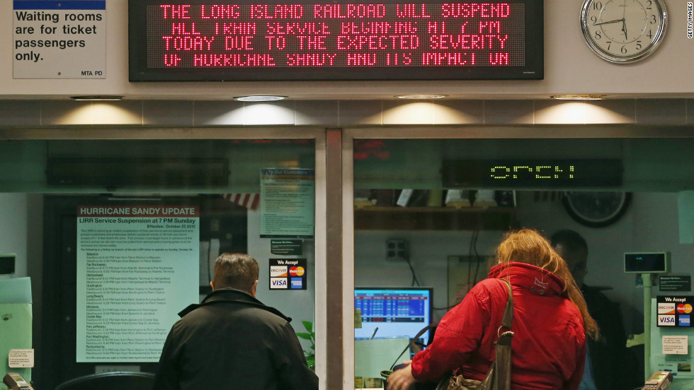 With Hurricane Sandy approaching, the Long Island Railroad announced the suspension of service at 7 p.m. Sunday in Hicksville, New York.