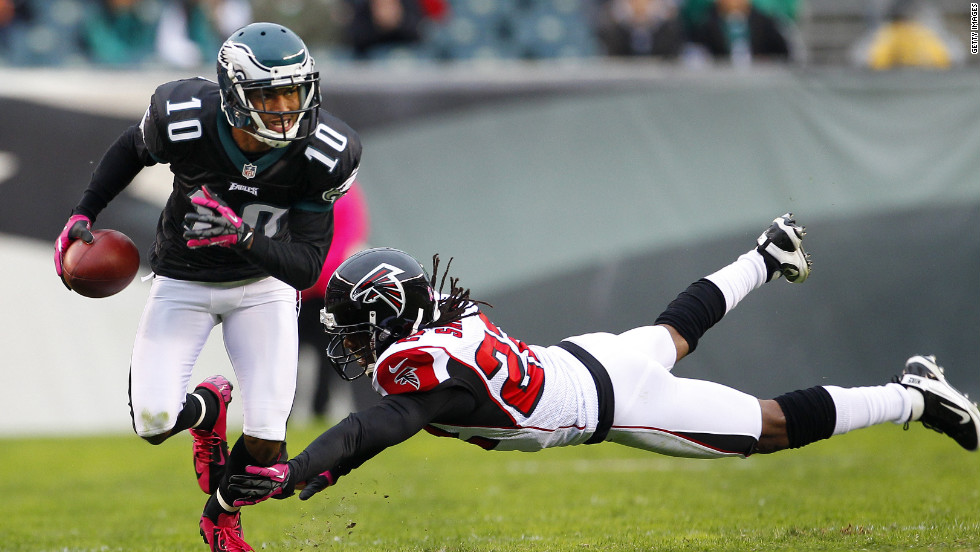 Wide receiver DeSean Jackson of the Philadelphia Eagles runs past a diving Asante Samuel of the Atlanta Falcons during the first half at Lincoln Financial Field on Sunday in Philadelphia.