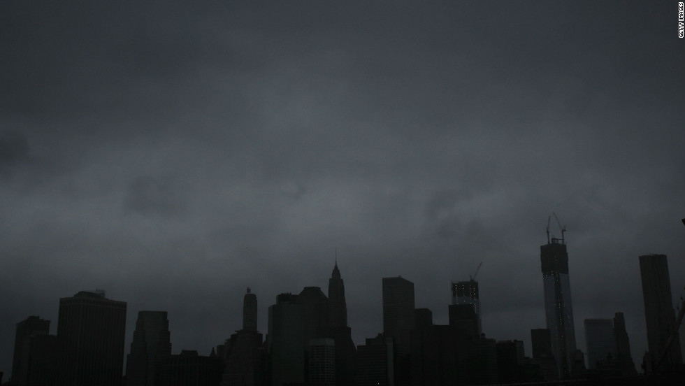 Dark clouds mask the Manhattan skyline as Hurricane Sandy approaches New York on Monday.