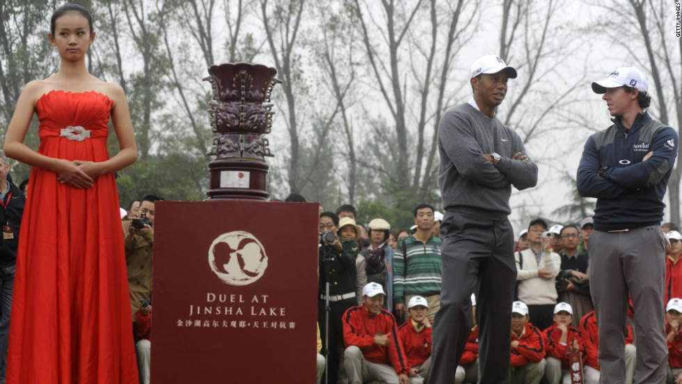 "McIlroy awaits his trophy on a day that coincided with the launch of the multi-million-dollar ""Golf Villas"" to be built around the Jinsha Lake course."