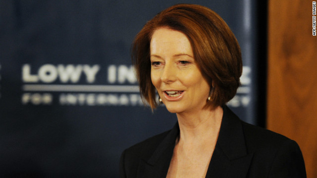 Australian Prime Minister Julia Gillard arrives to speak at the Lowy Institute on October 28.
