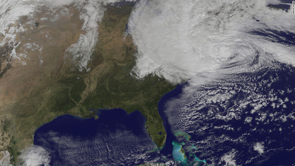 A satellite image taken at 12:25 p.m. ET Monday shows Sandy moving over the Northeast.