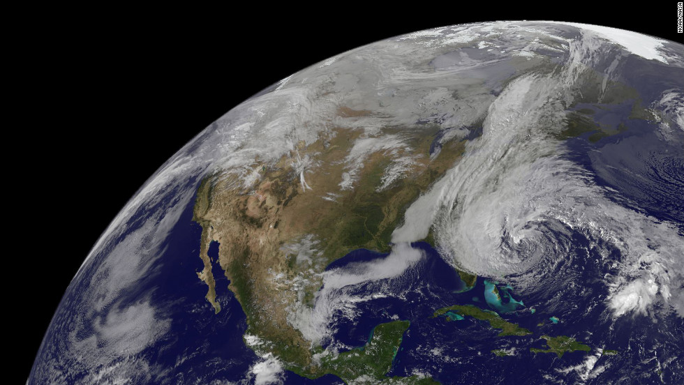 A satellite view shows Sandy's position at 2:47 p.m. ET on Saturday, October 27.