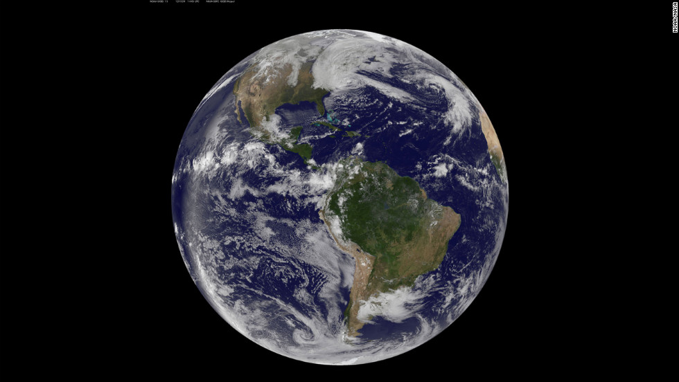 A satellite image of the Western Hemisphere shows its massive size at 2:22 p.m. on Monday, October 29.