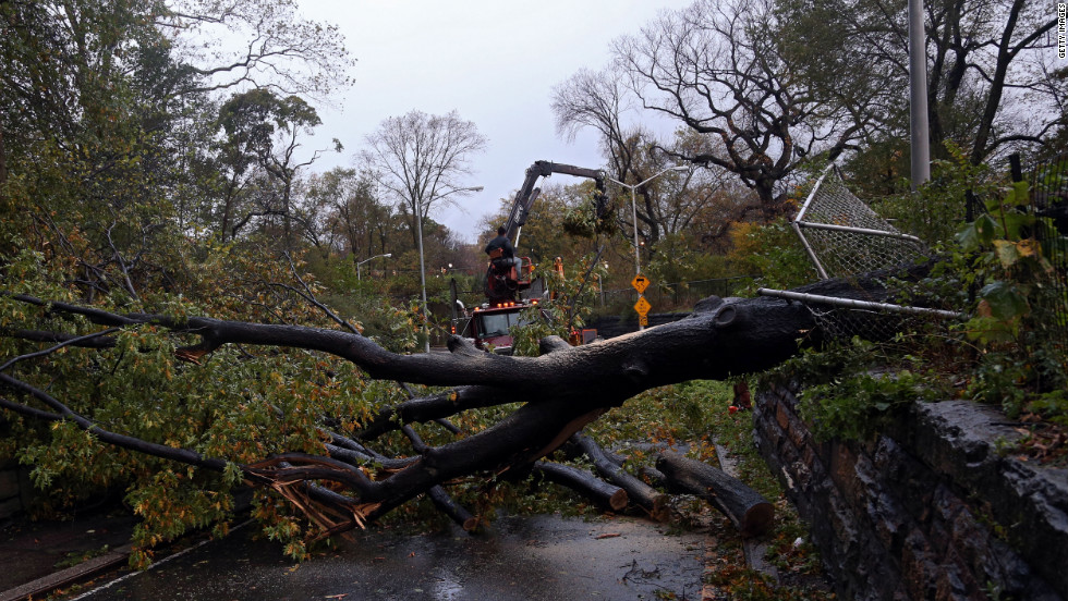 Workers clear a tree blocking East 96th Street in Central Park in New York on Tuesday.