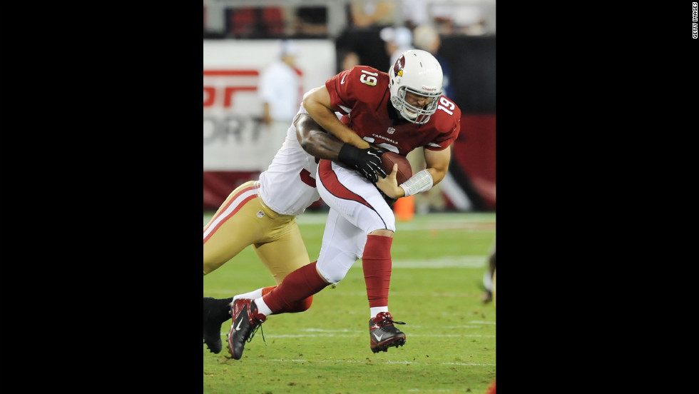 John Skelton of the Arizona Cardinals attempts to break a tackle during Monday night's game against the San Francisco 49ers.