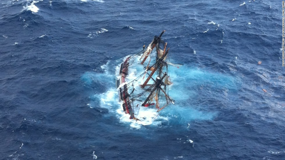 The HMS Bounty, a half-century-old 180-foot long wooden sailing ship, sank in Hurricane Sandy roughly 100 miles off Cape Hatteras, North Carolina. A U.S. Coast Guard aircraft captured this image of the ship moments before it went down.