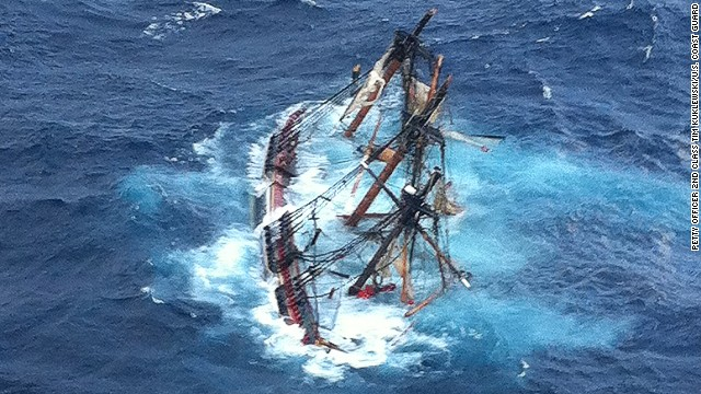 The HMS Bounty, a 180-foot sailboat, is shown submerged in the Atlantic Ocean during Hurricane Sandy approximately 90 miles southeast of Hatteras, N.C., Monday, Oct. 29, 2012. Of the 16-person crew, the Coast Guard rescued 14, recovered a woman and is searching for the captain of the vessel. U.S. Coast Guard photo by Petty Officer 2nd Class Tim Kuklewski.
