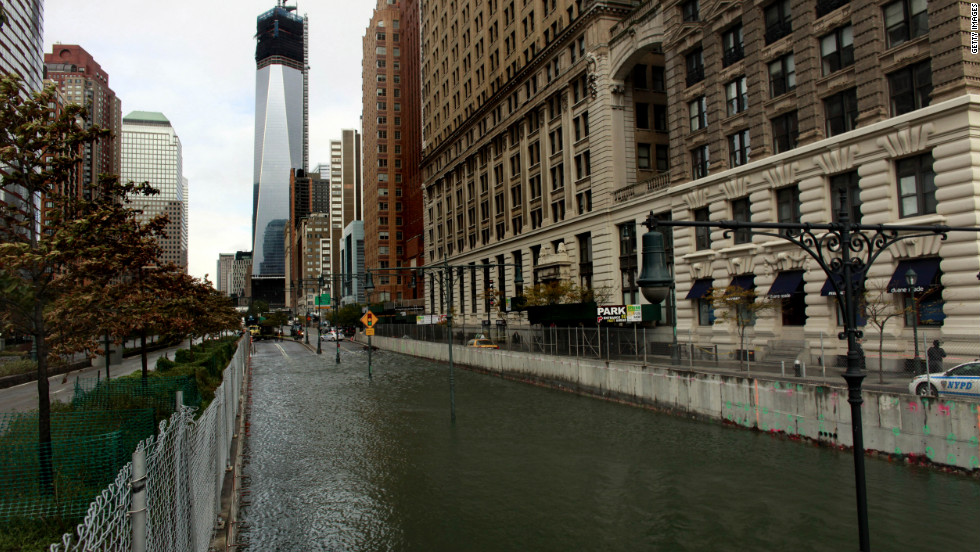 A tidal surge created by Sandy flooded the Brooklyn Battery Tunnel in New York on Tuesday.