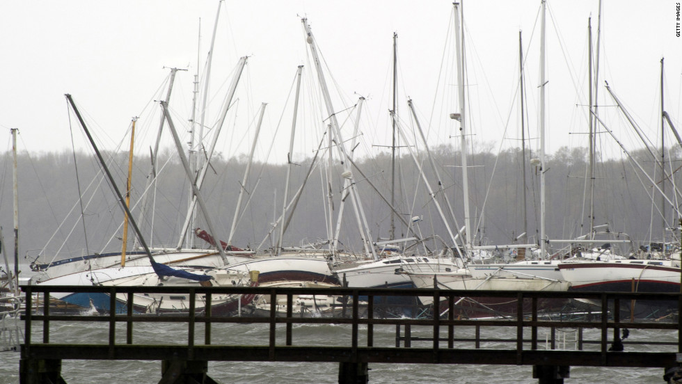 Sailboats rest on the ground after being tipped over by Superstorm Sandy on City Island, New York, on Tuesday.