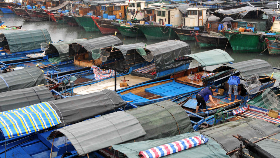 Fishing boats anchor in the harbor to shelter from the wind at a fishing port in Beihai City, China on Sunday.