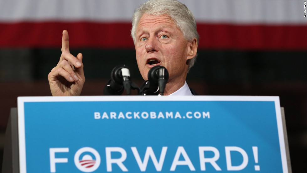 Former President Bill Clinton speaks during a campaign rally with Vice President Joe Biden on Monday in Youngstown, Ohio. Obama had planned to attend the event but canceled to monitor Hurricane Sandy.