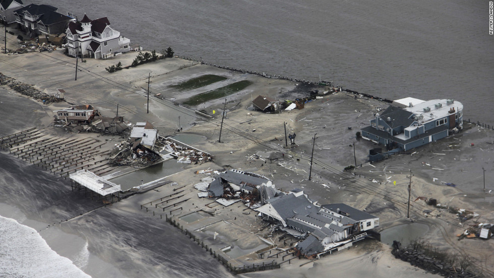 Aerial images from the U.S. Coast Guard show the coastline in Brigantine, New Jersey, on Tuesday. Sandy struck land near Atlantic City, New Jersey, around high tide Monday night.