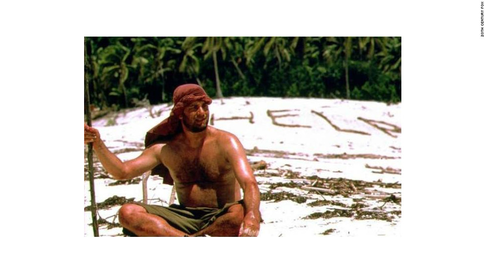 "In ""Cast Away,"" Tom Hanks is a FedEx executive who's marooned on an island after a plane crash for years, alone."
